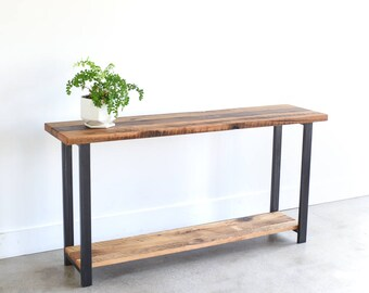 Lovely Reclaimed Wood Console Table With Lower Shelf / Entryway Table / Sofa Table