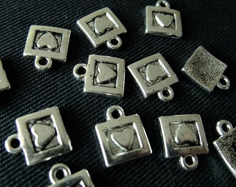 Destash (12) Tiny Square Heart Charms - for pendants, jewelry making, crafts, scrapbooking