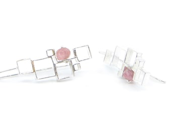 Open Squares Earrings with Pink Tourmalines