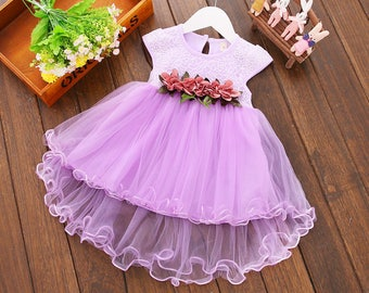 Beautiful Easter Spring light purple lavender tulle tutu princess party flower girl dress with large bow 4T