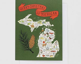 Merry Christmas Illustrated Michigan Map - Greeting Card