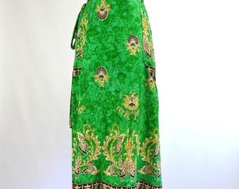 1960s/1970s Midi Length Batik Wrap Skirt - Small/Medium