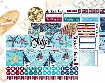 Juli monatlichen Kit / / Juli 2018 monatlichen Planner Sticker Kit / / für Erin Condren Sticker ECLP