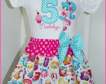 New Super Cute Shopkins Jessicake Cupcake  Birthday Skirt outfit Name and age included