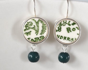 Simple Circle Broken China Earrings - Green and White with Green Bead