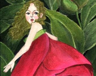 art print fantasy prints - She Stole A Peony To Wear - painting, illustration, fairy artwork for girl's room, nursery room, dorm, home