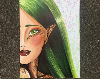 """ILLUSTRATION Stylefile marker / / """"All Green Everything"""" on paper / / ORIGINAL"""