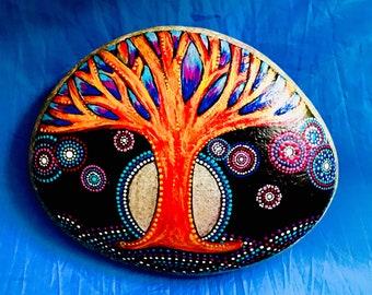 Tree of life, X-large mandala hand painted stone, painted rock, dot art
