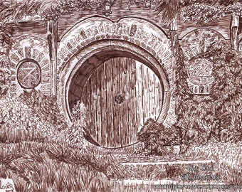 Bag End Ink Drawing Fine Art Print - Lord of the Rings - The Hobbit - Illustration - Fantasy Art - Middle Earth - Tolkien - LOTR
