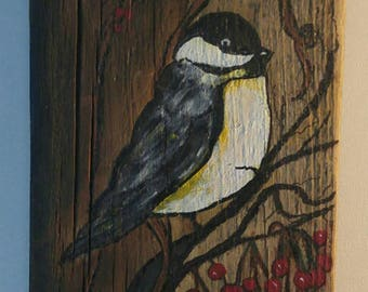 Chickedee bird acrylic painting on barnwood original art wood only only for the bird lover hand painted by me