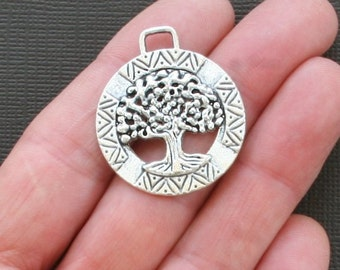 2 Tree of Life Charms Large Size Antique  Silver Tone Amazing Detail - SC2238