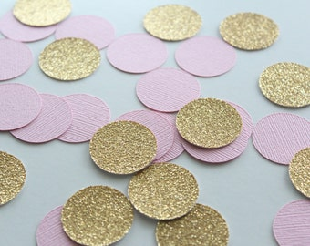 """Pink & Gold 1"""" Circle Confetti / 100 Count/ Party Decoration/ Birthday/ Wedding/ Bridal Shower/ Baby Shower/ Table Confetti"""