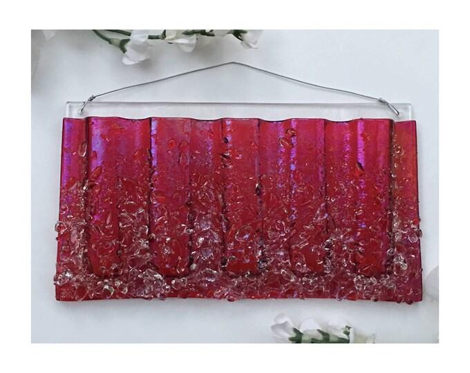 Large Horizontal. Wall Art, Fused Glass, Wall Vase, Glass Pocket.