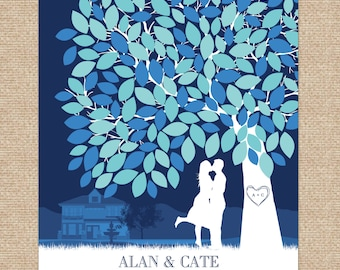 Guest Book Tree // Personalized Skyline & Silhouette Gallery Wrapped Print // 150+ Signature Guestbook // W-T05-1PS HH3