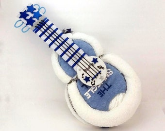 Music Baby Shower - Guitar Diaper Cake - Diaper Cake - Baby Gift - Rock and Roll - Rock Star Baby