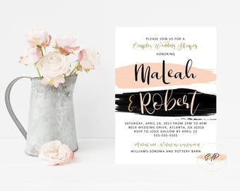 Couples Wedding Shower Invitation - Wedding Shower Invites - Engagement Invitation - Wedding Invitation - Pink and Black Invitation