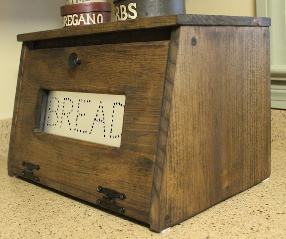 Country Kitchen Bread: Wood Bread Box Bin Wooden Punched Tin Storage Primitive