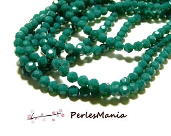 1 strand of approximately 100 beads round faceted glass 4mm Green Emerald H166402A