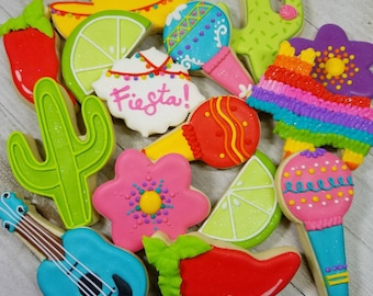 Fiesta cookies, cinco de mayo cookies, fiesta birthday party, Fiesta party favors,Fiesta Sombrero cookies, cactus cookies, pinata cookies