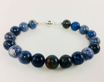 Blue Dumortierite with Sterling Silver magnetic clasp