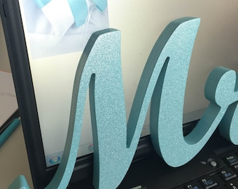 Glitter Blue wooden letters Mrs. & Mr. wedding table decoration, standing Mr and Mrs signs for top table