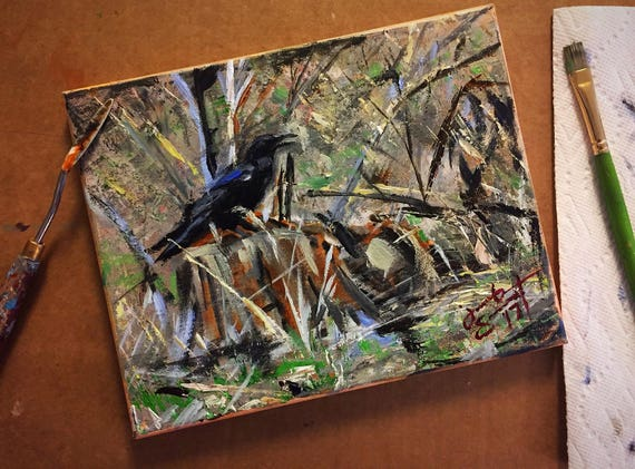 """""""Raven at Zion National Park"""" - 8""""x10"""" - Acrylic on Canvas"""
