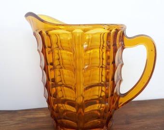 Amber Glass Pitcher Jug