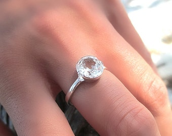 Sterling silver white topaz ring April birthstone Modern engagement ring Natural gemstone solitaire