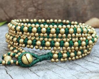 Brass Triple Wrap Dark Green Bracelet