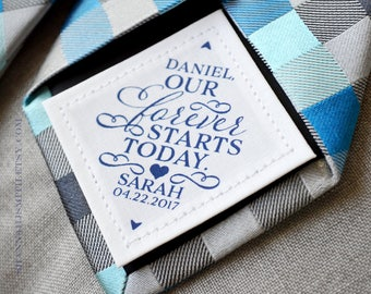 Groom Personalized Tie Patch • Our Forever Starts Today • For Him • Suit Label • Wedding Day Gift • Custom Label