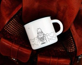 White Enamel Mug Cup * Traveler Cardiogram *  Enamel Cup Mug *  Camping Mug * Tourist Ware * Wanderer