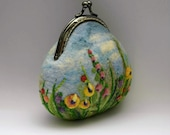 Purse Felted Coin Purse Needle Felted Change  Pouch Embroidery Small Bag Keychain Make Up Purse Gift for Her