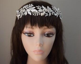 silver bridal headband, floral wedding headband, vintage headpiece, vintage bridal headpiece, vintage wedding headband
