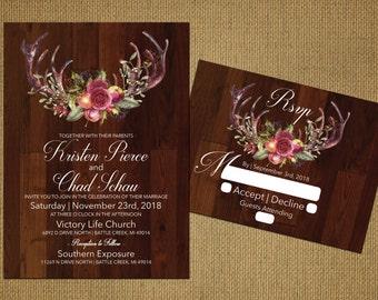 Rustic Antler Wedding Invitations,Deer Antlers,Roses,Rustic Wood,Traditional,Simple,Customize,Printed Invitations,Invitation Sets,Envelopes