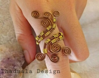 boho copper wires ring