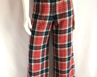 Vintage Women's 70's Pendleton, Red, Plaid, Wool Pants, High Waisted, Wide Leg (L)