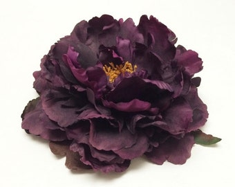 1 Jumbo Deep Eggplant Purple Artificial Peony - 6 Inches - Artificial Flowers, Silk Flower, Hair Accessories, Wedding, Flower Crown, Tutu