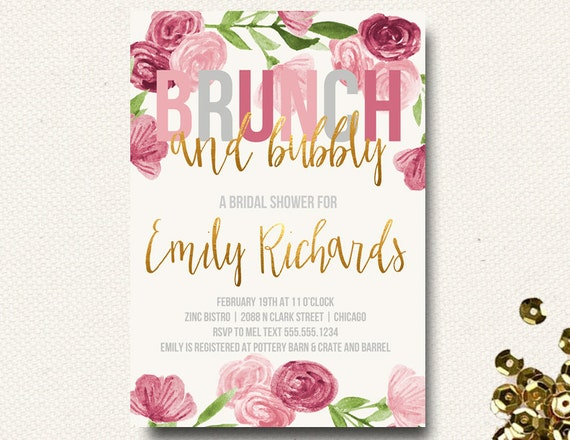 Items similar to spring bridal shower invitation brunch champagne items similar to spring bridal shower invitation brunch champagne bubbly floral gold pink roses on etsy filmwisefo