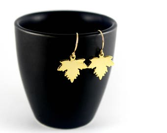 Gold Maple Leaf Earrings, Yellow Gold Leaf Earrings, Dangling Gold Earrings, Gold Earrings, Woodland Goddess Jewelry, Maple Leaf Jewelry