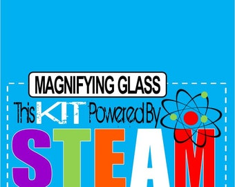 STEM STEAM Printable Classroom  Magnifying Glass Foldover Tag Label