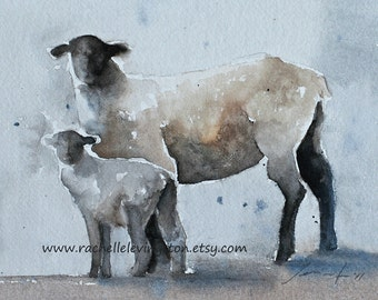 religious gift for her coworker gift sheep painting sheep art print sheep print lamb painting watercolour painting religious art ATC  SMALL