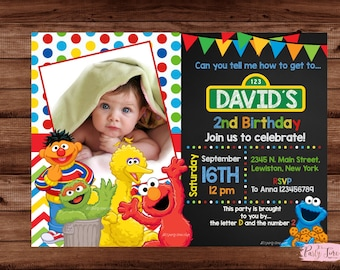 Sesame Street Invitation - Sesame Street Birthday Invitation - Sesame Street - Elmo Invitation - Elmo Birthday Invitation. DIGITAL FILE.