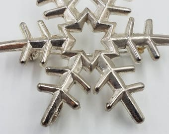 "Silver Snowflake Pendant Brooch  2 1/4"" x 2"" Shiny Vintage Costume"