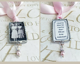 Wedding Bouquet Charm, Will You Be My Bridesmaid Charm, Soldered Glass, Personalized, Soldered Glass, Bride Gift, Memorial Charm