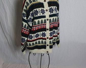 Vintage Northern Reflections Christmas Cardigan Sweater Snowflakes Christmas Trees - Size Medium