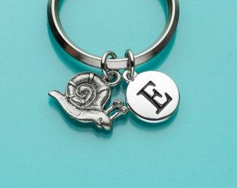 Snail Keychain, Snail Key Ring, Initial Keychain, Personalized Keychain, Custom Keychain, Charm Keychain, 333