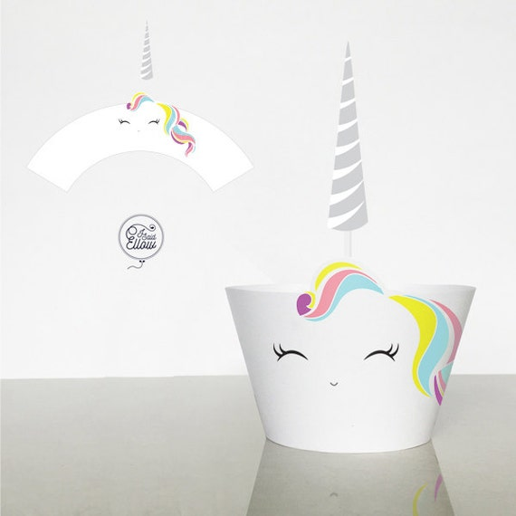 Unicorn Cupcake Wrapper And Topper Light