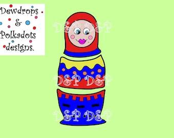 Russian doll digital stamp/ clip art& paper pattern.
