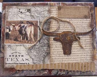 Western art, Texas art, country decor, cowboy art, collage 2, longhorn, western decor