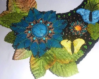 Handmade Beads embroidery necklace, blue green black gold yellow necklace, multicolor necklace - Titania